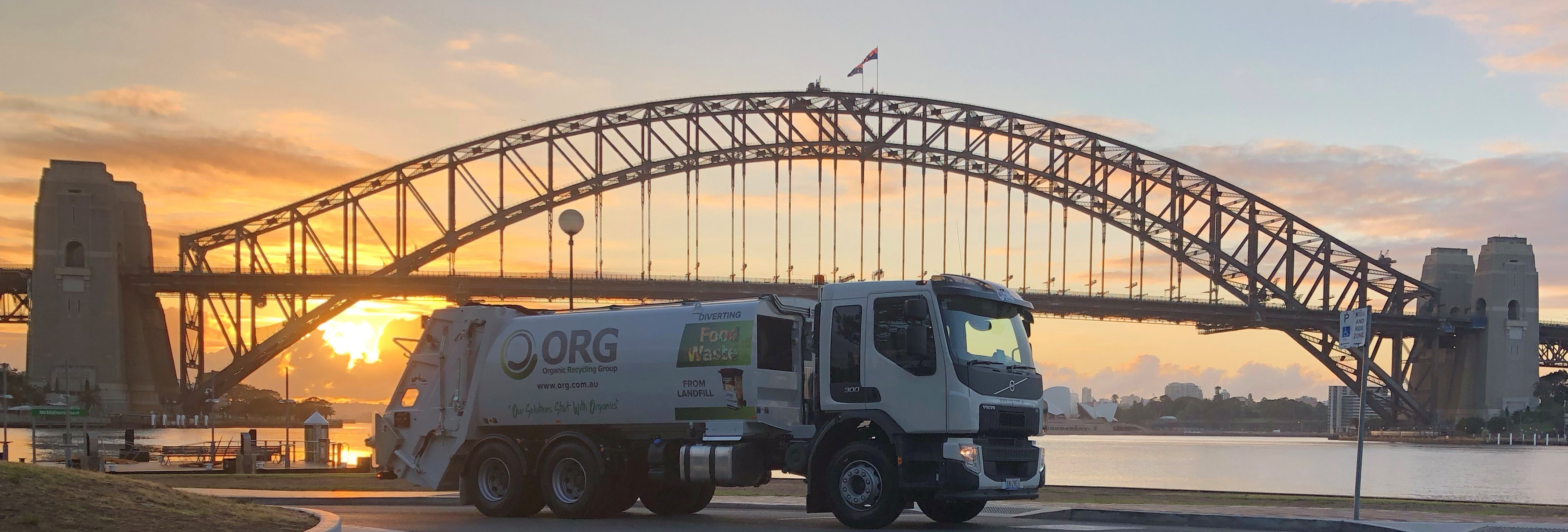 ORG truck in front of the Sydney Harbour Bridge