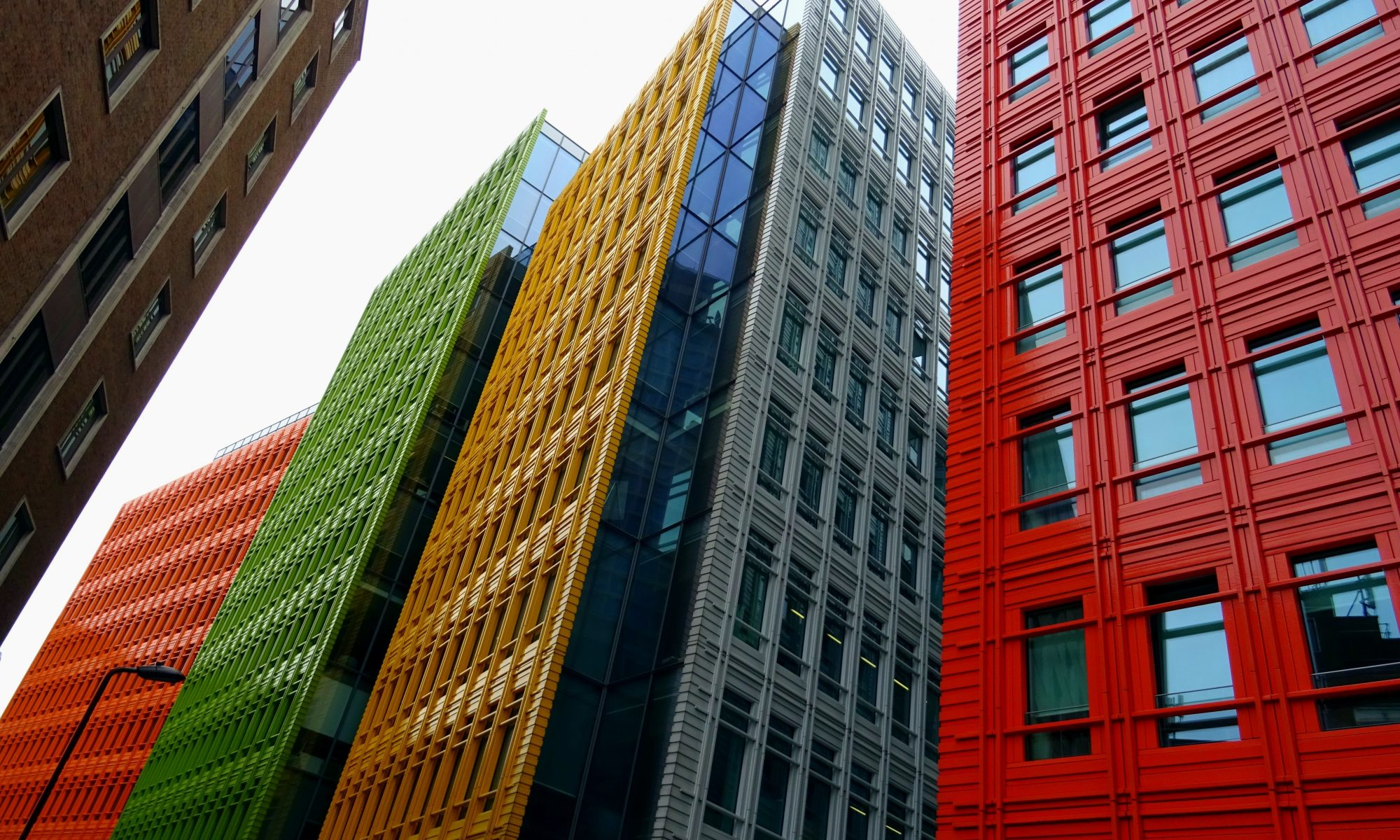 Colourful urban apartment buildings